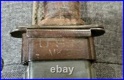 VINTAGE WW2 USN MK2 KABAR FIGHTING KNIFE withorig Scabbard