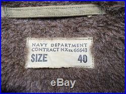 VTG 40s WW2 Named Stenciled USN US Navy N1 Deck Jacket Coat 40 Medium M A2