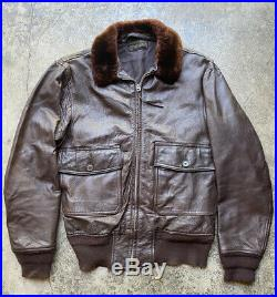 VTG 50s Post-WW2 USN G1 Leather Flight Jacket 7823 (AER) LW Foster A2 M422 36