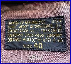VTG Post-WW2 USN G1 7823(AER) flight jacket California Sportwear M422 A2 40 42