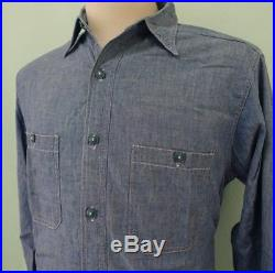 Vintage 1940's Chambray WWII USN Us Navy Denim Work Shirt 15 WW2 40's 50s' Army