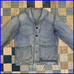 Vintage 1940s US Navy Sailor Denim Shawl Collar Jacket USN / XS S M