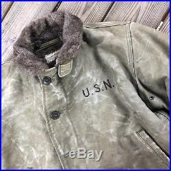 Vintage 1940s USN N1 Deck Jacket & Duffle Bag Named Sailor Navy WWII Sz 38