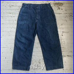 Vintage 1940s WW2 USN Denim Work Trousers 36