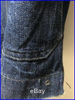 Vintage 1940s WWII Navy Shawl Collar Denim Jacket Men Medium Indigo Blue WW2 USN
