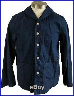 Vintage 1940s WWII USN Navy Shawl Collar Denim Jacket Levis Suspender Buttons 40