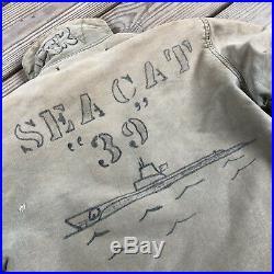 Vintage 1950's USN N1 DECK JACKET USS SEA CAT SS-399 Known Sailor Submarine NAVY