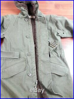 Vintage 40s WW2 USN US Navy N-1 Deck Parka Size 40 Coat Jacket NXSX Cold Weather