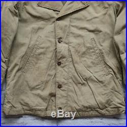 Vintage 40s WWII US Navy USN N-4 Deck Jacket Conmar Zip