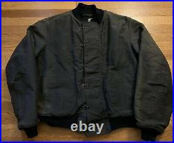 Vintage 40s WWII USN US NAVY Deck Stencil Hook Dark Blue Color Jacket. Size 46