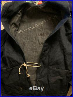 Vintage 40s WWII USN US Navy Sailor Stencil Dungaree Denim Uniform Shawl Jacket