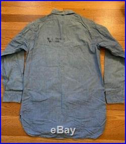 Vintage 40s WWII USN US Navy Sailors Chambray Stencil Uniform Blue Denim Shirt