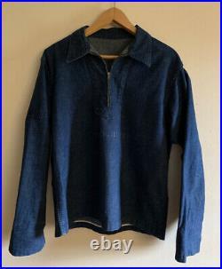Vintage 40s WWII USN US Navy Sailors Dungaree Blue Denim Jean Half Zip Jacket
