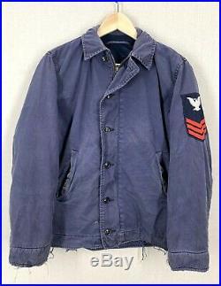 Vintage 50s 60s USN Navy N4 Blue Deck Jacket Sz 36/38 Military Marines