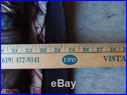 Vintage 80s Avirex G-1 Leather Flight Jacket Size L Coat Navy USN USA Flag