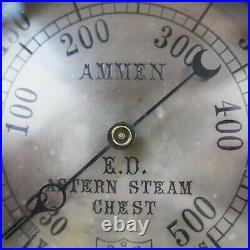 Vintage Antique WWlI USN Destroyer Ammen Steam Pressure Gauge All Brass 7-1/4
