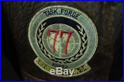 Vintage Avirex Flight Navy Leather Bomber G-1 Jacket Top Gun 1988 USN Mens Med