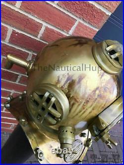 Vintage Boston Antique Brass Scuba Marine Diving Divers Helmet US Navy Mark V