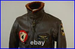 Vintage Brill Bros 1968 USN G-1 Flight Jacket Vietnam Brown Goat Leather Size 40