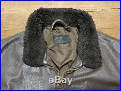 Vintage Brill Bros Usn Goatskin A2 / G1 Flying Flight Pilot Leather Jacket Uk46