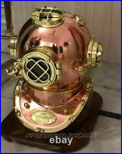 Vintage Copper Brass Morse Diving Helmet Scuba Boston Divers Navy Mark Divers