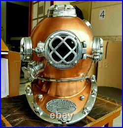 Vintage Copper Diving Helmet Antique Scuba U. S Navy Mark V Scuba Divers Helmet