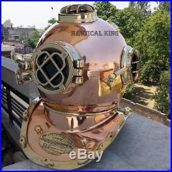 Vintage Copper Diving Helmet U. S Navy Mark V Deep Sca Divers Helmet Boston 18