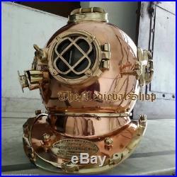 Vintage Copper Shine Diving Helmet U. S Navy Mark V Deep Sea Divers Boston 18