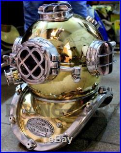 Vintage Deep Sea Scuba U. S Navy Mark V Diving Divers Helmet Brass 18 Sca Gift