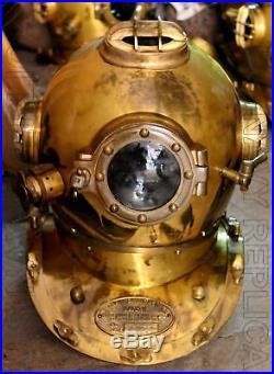 Vintage Diver Helmet U. S Navy Mark V Solid Steel Heavy Diving Divers Helmet 18