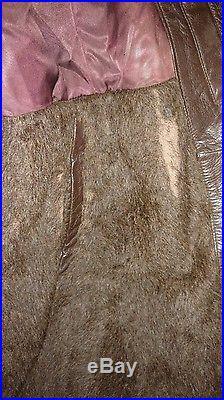 Vintage Leather Real Fur US Navy Jacket Model M69-F WW2 WWII Marked USN