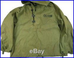 Vintage Named Ww2 Usn Deck Parka Wet Weather Anorak Jacket Us Navy Wwii L