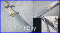 Vintage Navy KA-BAR Fighting Knife Guard Stamped USN MK2 withSheath