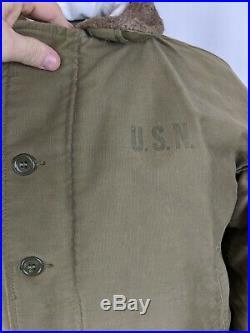 Vintage Original 1940s US Navy N1deck jacket WWII Size 44 Alpaca Lined
