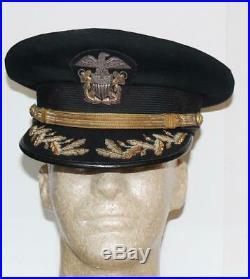 Vintage Pre Ww II Us Navy Usn Captain Senior Officer's Winter Wool Hat Named