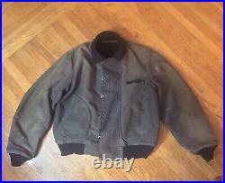 Vintage RARE WWII US NAVY Stencil Deck Hook Dark Blue Color Jacket 40s Sz 42