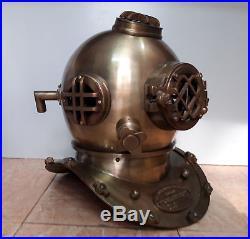 """Divers Helmet Replica Antique Scuba 18/"""" Diving Helmet U.S Navy Mark V Vintage 02"""