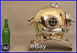 Vintage Shine Diving Helmet U. S Navy Island Mark V Deep Sea Divers Boston 18