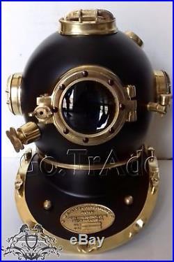 Vintage Solid Steel Black Finish U. S Navy Mark V Diving Divers Helmet