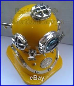 Vintage U. S Navy Mark V Solid Brass Diving Divers Yellow Helmet