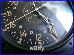 Vintage WW2 B. U Aero U. S Navy Waltham 8-Day Aircraft Clock sell as is not Test