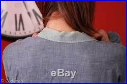 Vintage WW2 USN US Navy Denim Jean Chambray Shirt. Worn. Amazing Look. Named