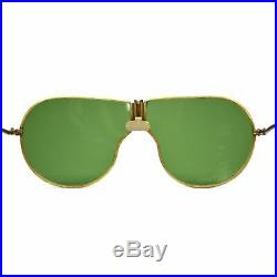 Vintage WWII AAF/NAVY AVIATOR SUNGLASSES by BECK with DK. GREEN ROCK GLAS LENSES