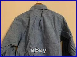 Vintage WWII Post HERCULES USN US Navy Chambray Sanforized Blue Denim Work Shirt