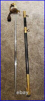 Vintage WWII U. S Navy USN Model 1852 Naval Officer's Dress Sword with Knot M1852