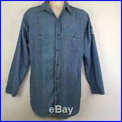 Vintage WWII US Navy USN WW2 Chambray Shirt Selvedge Gussets Patch Sz Large 16