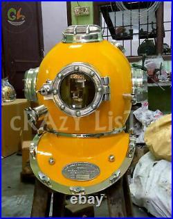 Vintage Yellow Morse Diving Helmet US Navy mark V Scuba Deep Sea Marine Helmet