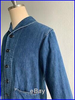 Vtg 40s WW2 U. S. Navy SHAWL Collar USN Denim CHORE Dungaree INDIGO Jacket