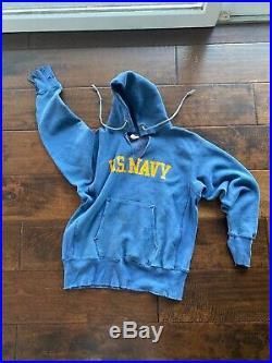 Vtg 70s Champion US USN USNA Military Annapolis Navy Sweatshirt Hoodie