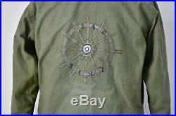 Vtg 70s US Navy Hand Painted Ships Wheel Cold Weather A-2 Deck Jacket USN Coat M